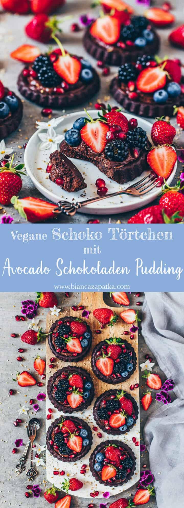 Einfache vegane Schoko-Törtchen mit cremigen & gesundem Avocado-Schokoladen-Pudding und frischen Beeren. Ein perfektes Rezept für alle Schoko- und Beeren Liebhaber. Vor allem, wenn die Tartelettes frisch gekühlt aus dem Kühlschrank kommen, ist es ein tolles Sommer-Dessert.