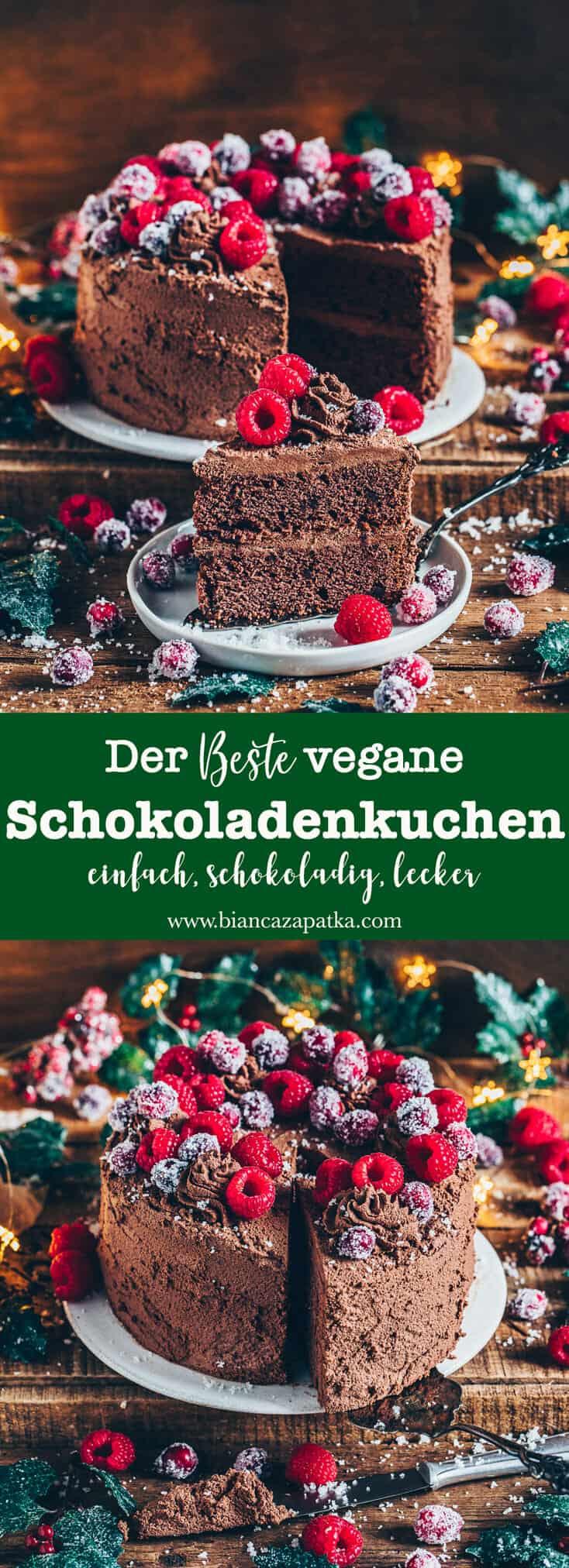 Veganer Schokoladenkuchen, das beste Rezept! Dieser Schoko-Kuchen ist mit wenigen Zutaten, schnell und einfach zubereitet. Er ist unglaublich lecker, super schokoladig und kann auch glutenfrei zubereitet werden. Das perfekte Dessert für jeden Anlass!