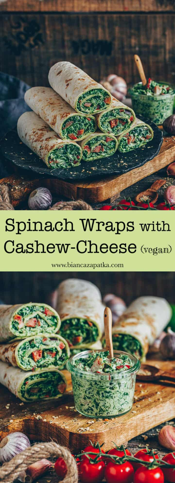 An easy recipe for spinach wraps with pepper and vegan cashew cheese. They are delicious, healthy and perfect to grab and go, for a quick meal or party snack.