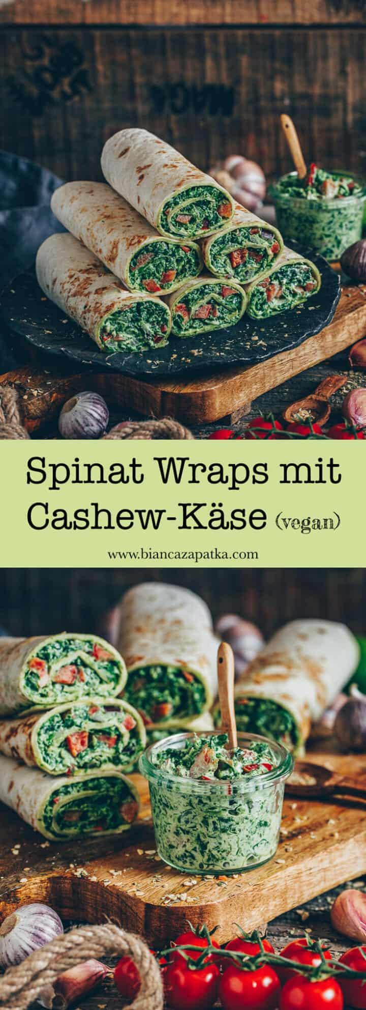 Ein einfaches Rezept für Spinat Wraps mit Paprika und veganem Cashew-Käse. Sie sind lecker, gesund und perfekt als Snack für zwischendurch oder als schnelles Mittag- oder Abendessen. Sie eignen sich auch prima zum Mitnehmen oder als Partysnack.