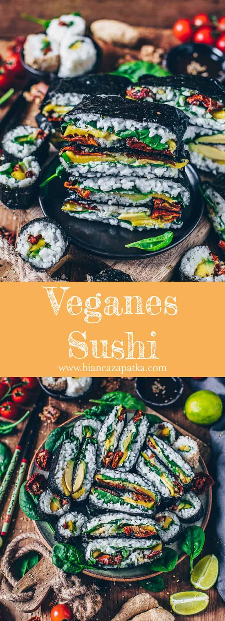 Veganes Sushi aus pflanzlichen Zutaten. Dieses Rezept ist glutenfrei, gesund, sehr lecker und man kann es vielseitig zubereiten. Die Sushi-Sandwiches (Onigirazu) eignen sich auch prima als Snack zum Mitnehmen.