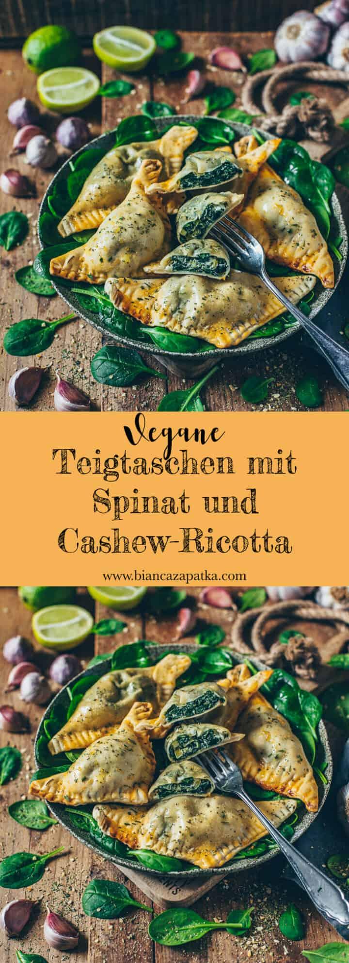 Ein köstliches Rezept für vegane Teigtaschen, gefüllt mit selbstgemachtem Cashew-Ricotta und Spinat. Sie schmecken warm und kalt super lecker und sind der perfekte Snack für jeden Anlass oder auch als Beilage immer passend.