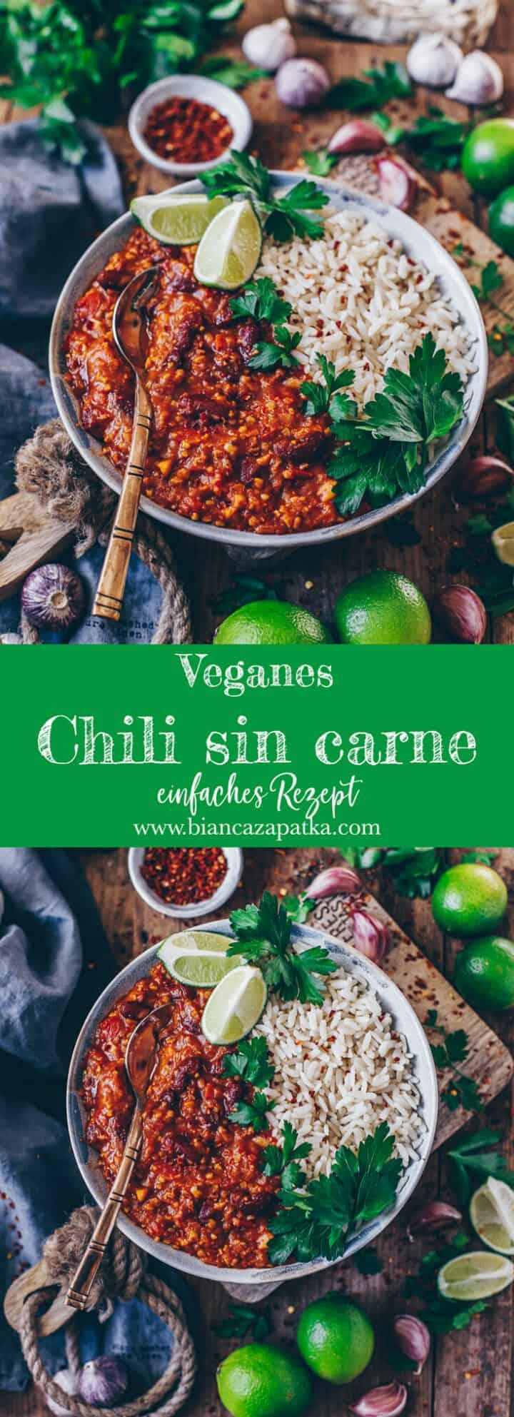 Dieses Chili sin Carne ist vegan, glutenfrei und schnell & einfach zubereitet - gesund, aber lecker, nahrhaft und vollgepackt mit Proteinen aus Soja und Kidneybohnen + guten Kohlenhydraten aus Reis!
