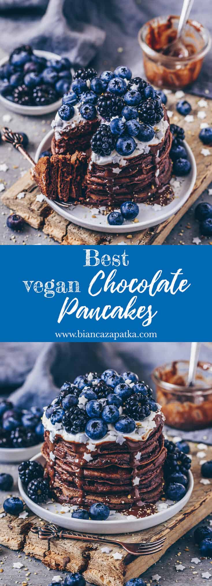 The BEST recipe for Vegan Chocolate Pancakes! These chocolatey Vegan Pancakes are very easy and quick to make and so delicious! Egg-free & dairy-free!