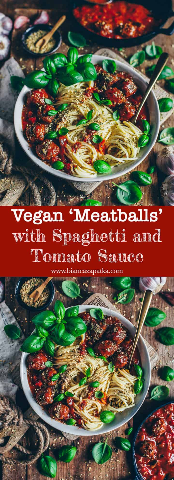 These vegan and healthy'meatballs' made of beans and combined with a spicy tomato sauce + pasta are a perfect lunch or dinner! This dish is quick & easy to make and a delicious plant-based alternative. Instead of balls, you can also form patties for burger or enjoy them just as a snack.