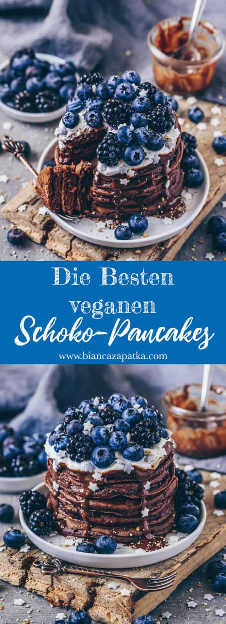 Das beste Rezept für fluffige vegane Schoko-Pancakes! Diese Schokoladen-Pfannkuchen sind einfach zuzubereiten und schmecken auch ohne Eier super lecker!