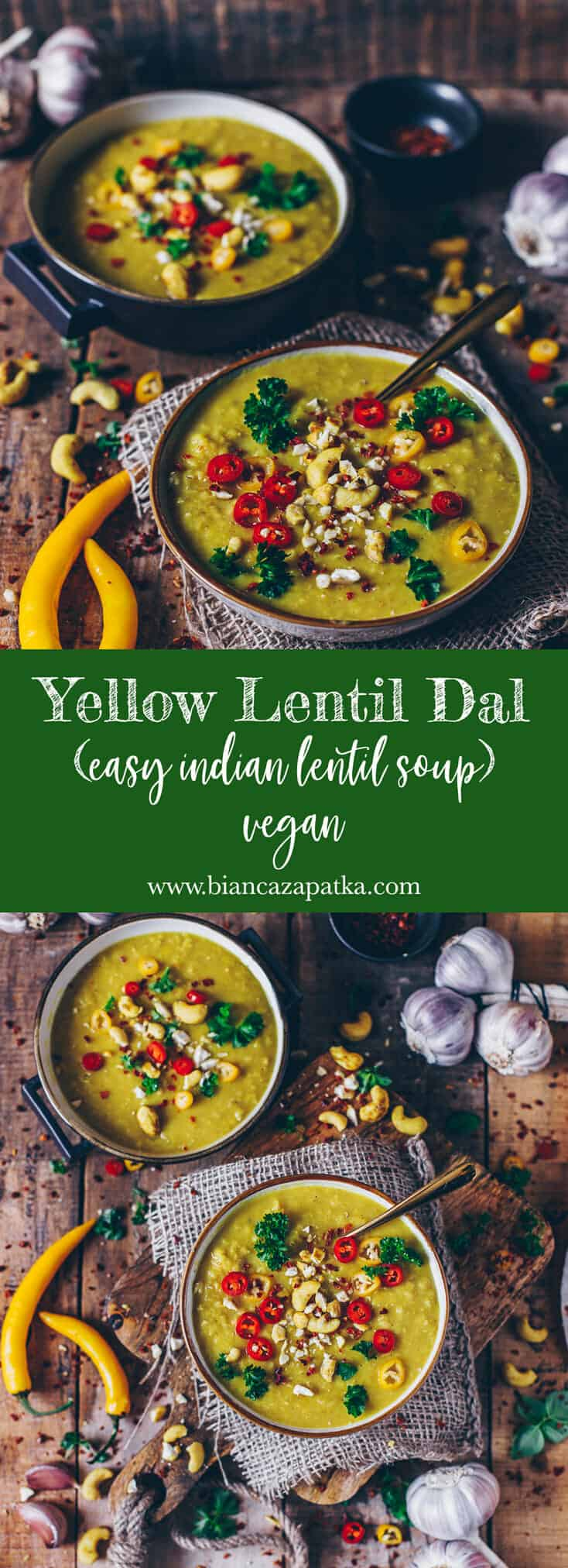 This recipe for a healthy and delicious dairy-free vegan yellow lentil dal with coconut milk is quick and easy to make and perfect to warm up!