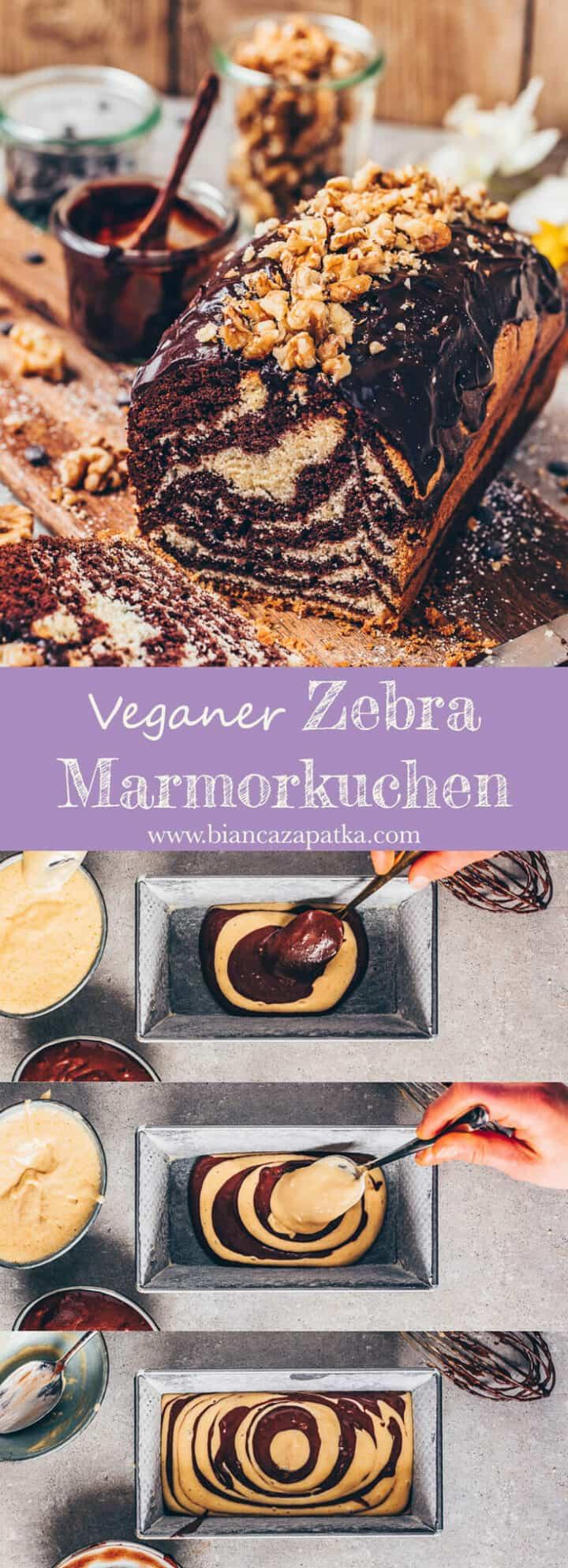 Dieser vegane Zebra-Kuchen kombiniert einen Schoko-Kuchen und einen Vanille-Kuchen in einem leckeren Marmorkuchen. Er ist einfach und schnell zubereitet!