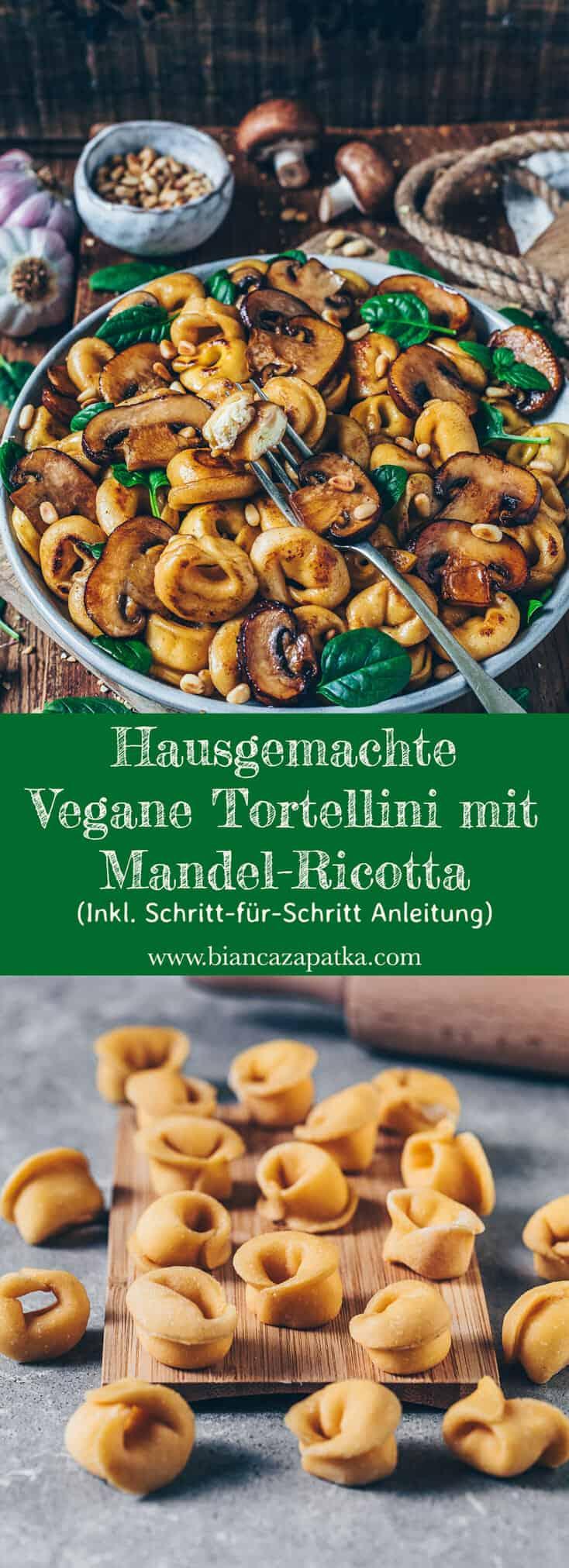 Hausgemachte vegane Tortellini, gefüllt mit Mandel-Ricotta, sind einfach zuzubereiten und super lecker! Dieses Pasta-Rezept enthält eine Schritt-für-Schritt-Anleitung, um perfekte vegane Käse-Tortellini aus frischem Nudelteig herzustellen.