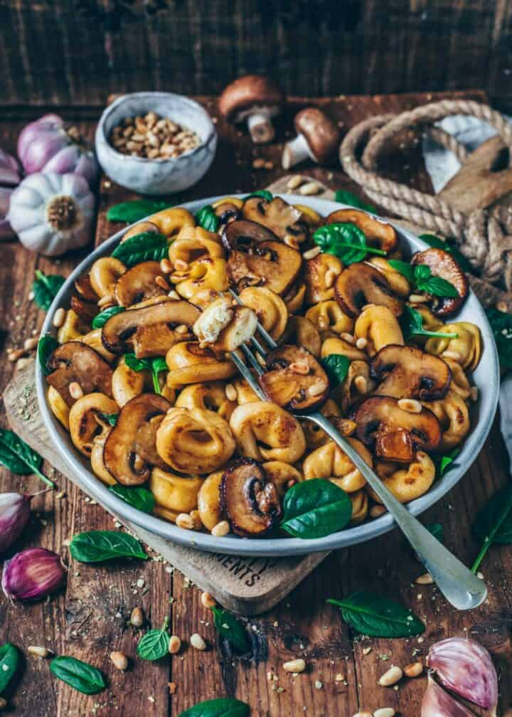 Homemade Vegan Tortellini filled with Almond Ricotta is super easy to make and so delicious! This Pasta Recipe is a step-by-step guide to making the perfect Vegan Cheese Tortellini with fresh pasta dough.