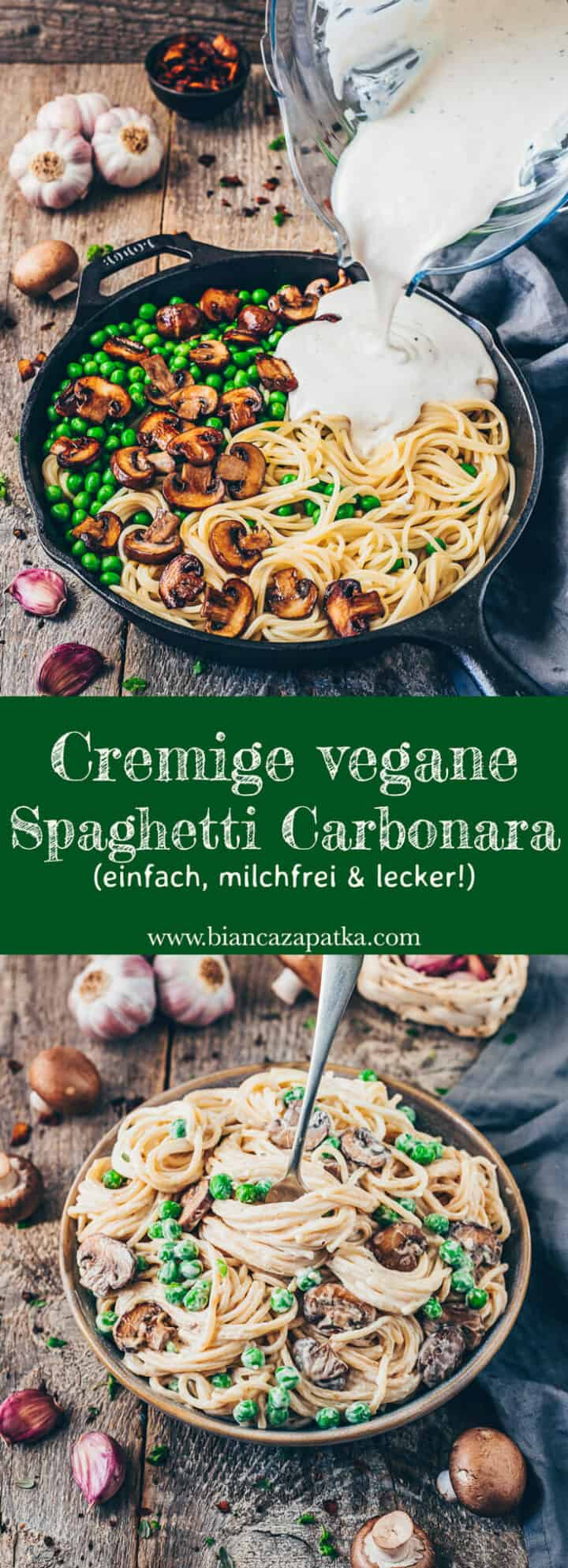 Rezept für cremige Vegane Carbonara Pasta-Sauce mit Spaghetti und Kokos-Bacon. Einfach, gesund, milchfrei, schnell, nur 20 Minuten!