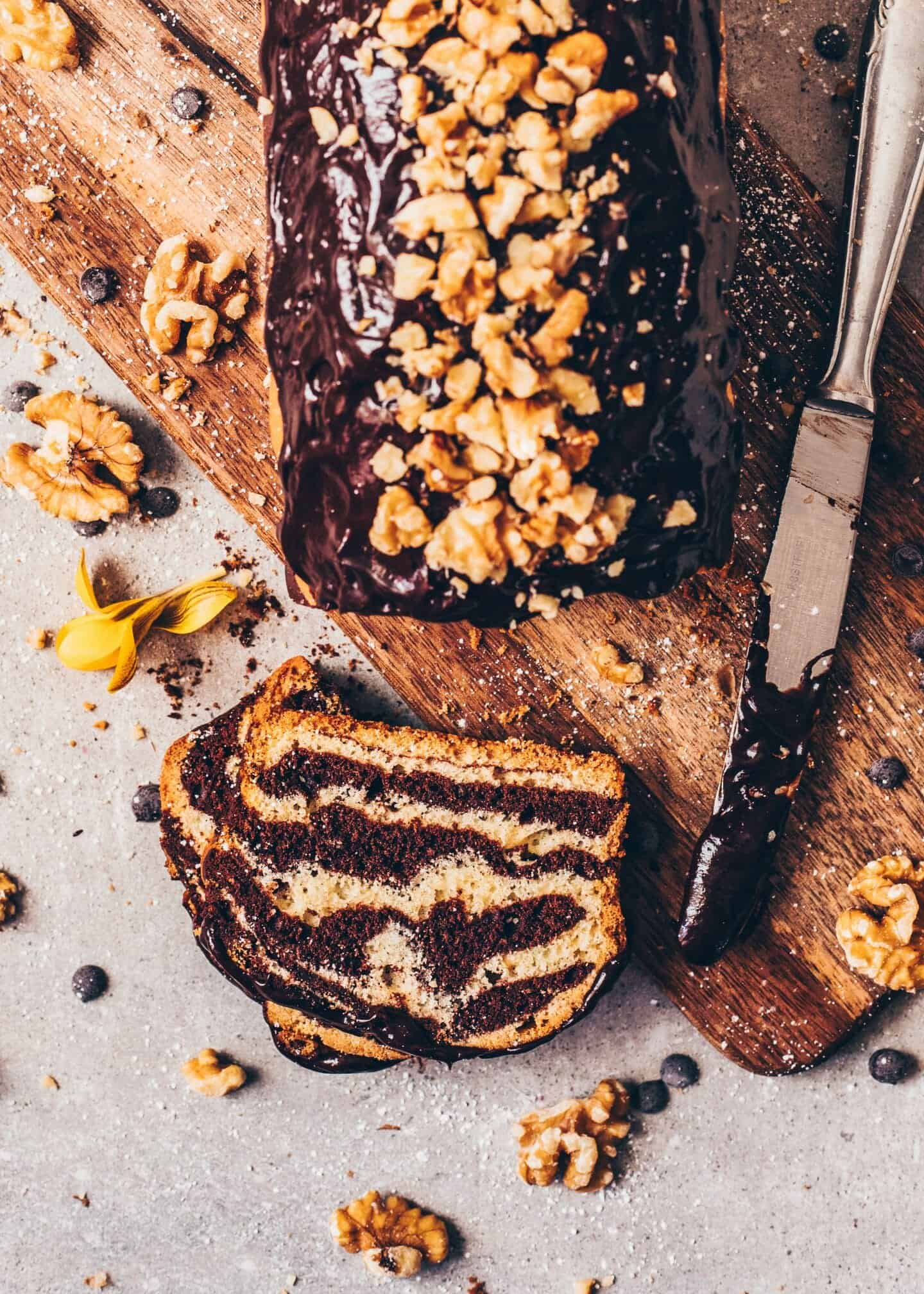 This Vegan Zebra Cake combines a chocolate cake and a vanilla cake into one flashy Marble Cake. It's easy to make from just one batter and so delicious!