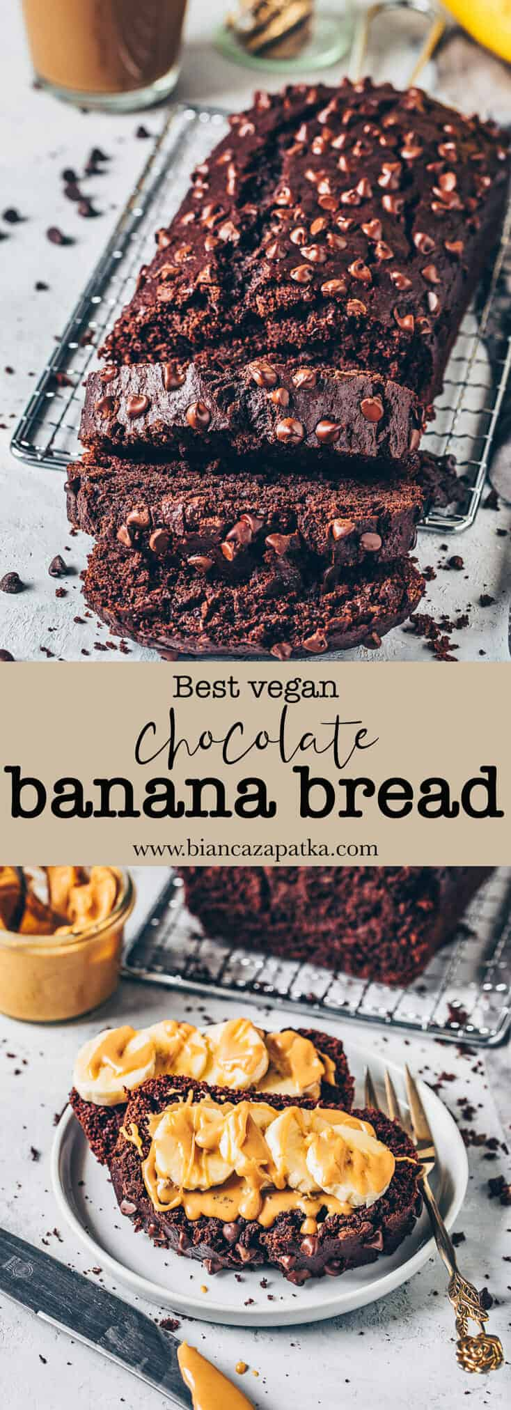 Best Vegan Chocolate Banana Bread Recipe is quick and easy to make in one bowl! It is soft, moist, rich, gluten-free, dairy-free, eggless, and tastes like a chocolate cake!