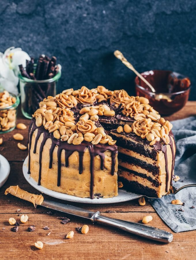 Chocolate Peanut Butter Cake, Vegan Chocolate Cake with peanut butter frosting, Snickers Cake, easy Recipe, dairy-free, eggless, dessert, rich, moist, fudge