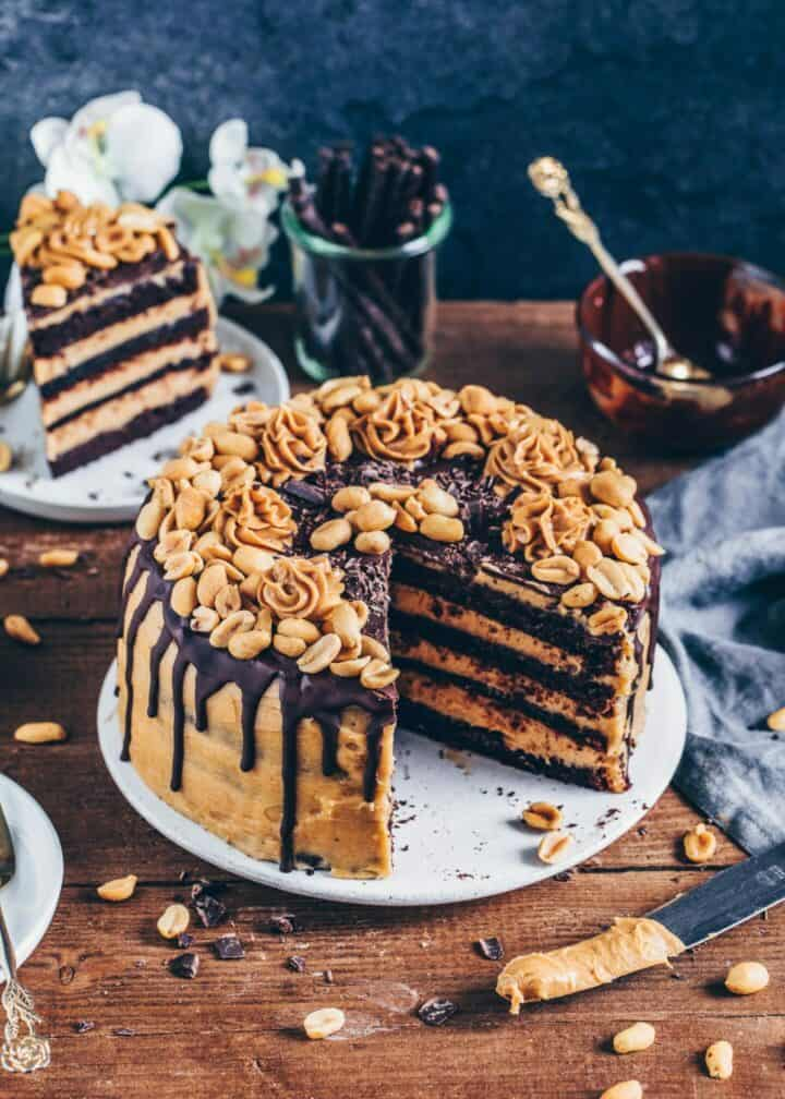 Chocolate Peanut Butter Cake, Vegan Chocolate Cake with peanut butter frosting, Snickers Cake, easy Recipe, dairy-free, eggless, dessert