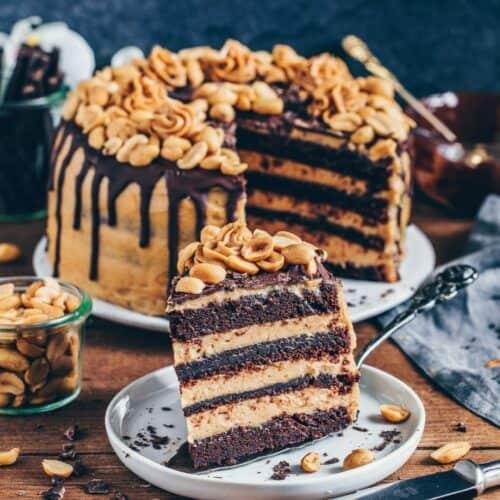 Vegane Schokoladen-Torte mitErdnussbutter-Creme, Snickers Kuchen, einfach, Rezepot, milchfrei, eifrei, Dessert, Nachtisch