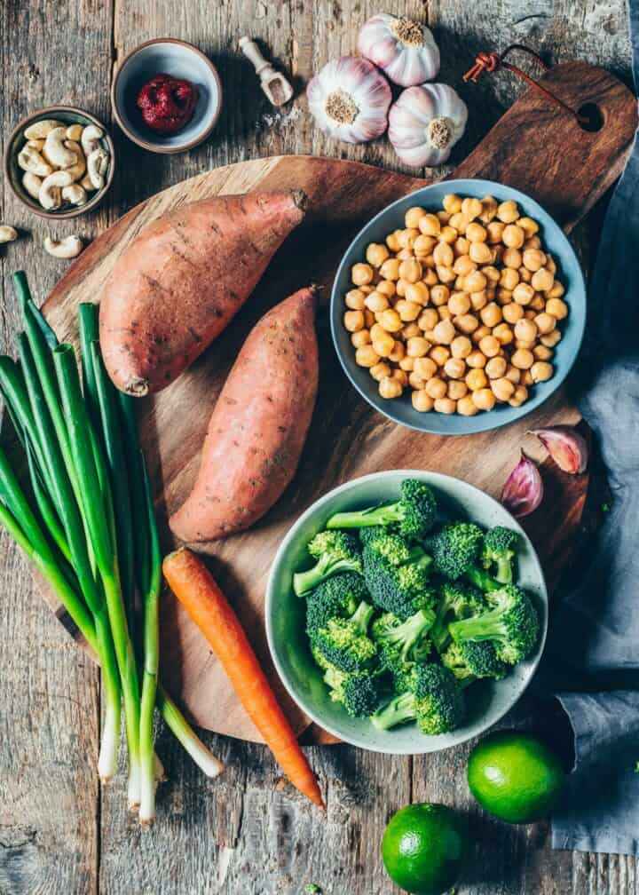 Ingredients, Vegetables, Curry Recipe, Broccoli, Chickpeas, Sweet Potatoes, carrot, lime, garlic, Cashew