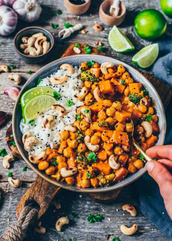 Creamy Sweet Potato, Chickpea and Coconut Curry Recipe with Broccoli. It is quick and easy to make, vegan, healthy, delicious. Perfect comfort food for lunch, dinner, meal prep. Freezer friendly, gluten-free.
