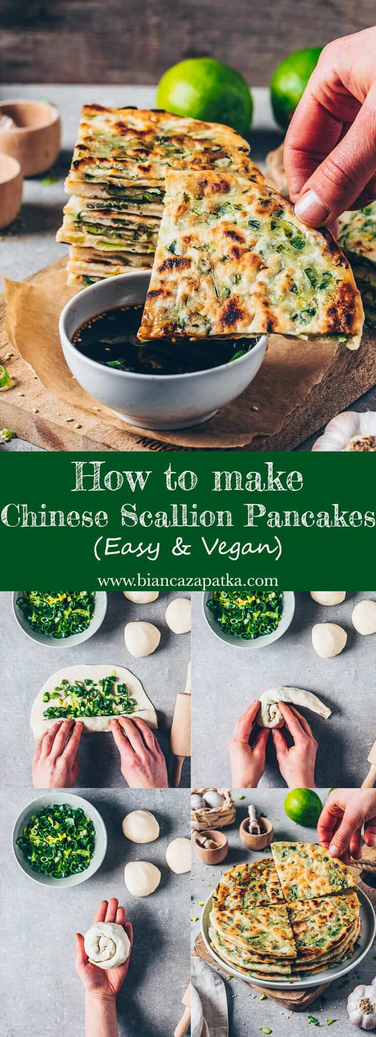 How to make 3-ingredient Scallion Pancakes (Green Onion Pancakes), crispy pan-fried Chinese flatbread (Chive Pancakes), delicious, quick and easy, healthy! Vegan Recipe. Step-by-Step instruction.
