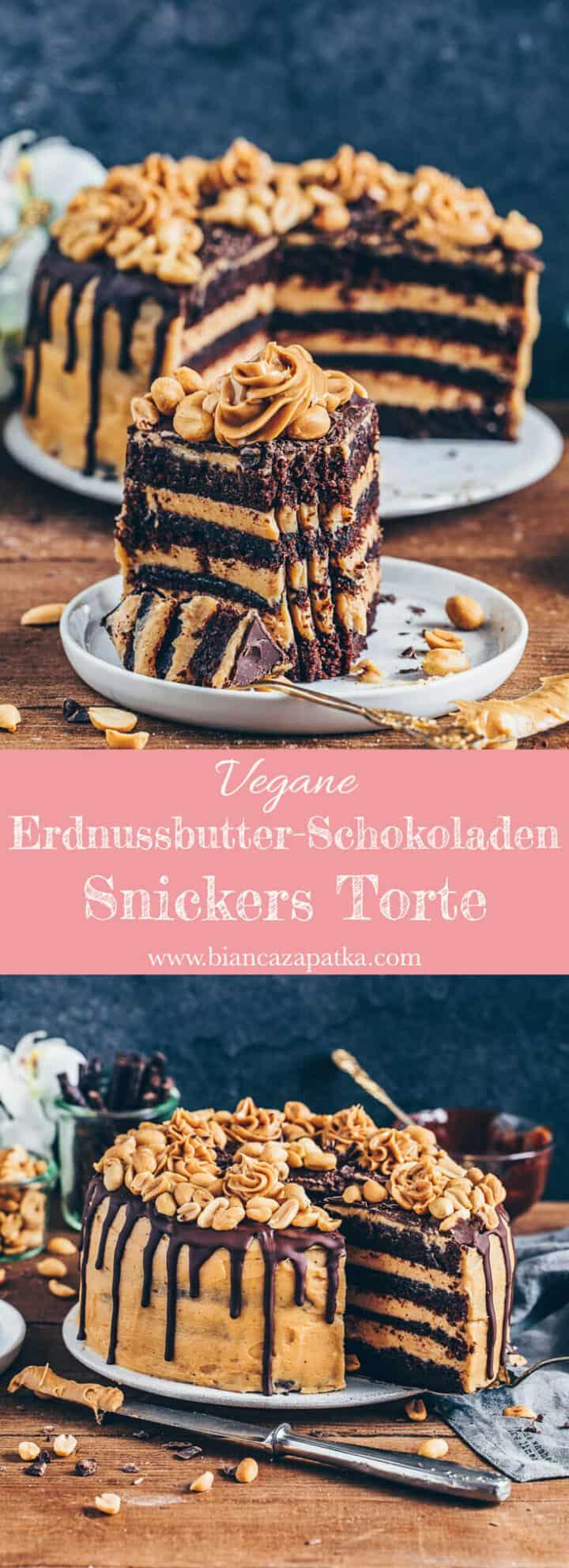 Schokoladen-Torte mitErdnussbutter-Frosting, Vegane Snickers Kuchen, einfach, Rezepot, milchfrei, eifrei, Dessert, Nachtisch