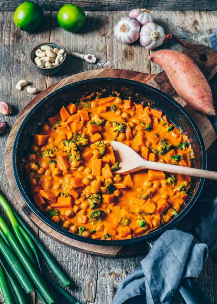 Creamy Chickpea Curry with Sweet Potato and Broccoli. It is quick and easy to make, vegan, healthy, delicious.Freezer friendly, gluten-free, made with coconut milk.