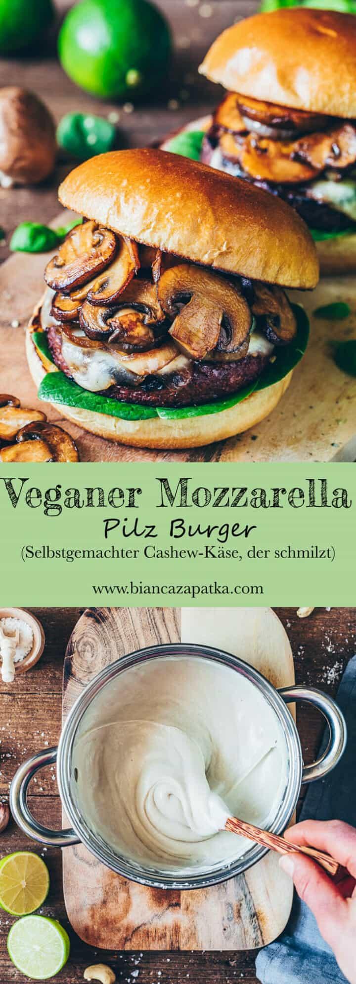 Veganer Mozzarella, der schmilzt, ist einfach zubereitet, und eignet sich prima zum Überbacken von Auflauf, als Topping für Pizza, Sandwiches und Käse Pilz-Burger. Dieser Cashew-Mozzarella ist pflanzlich und milchfrei!