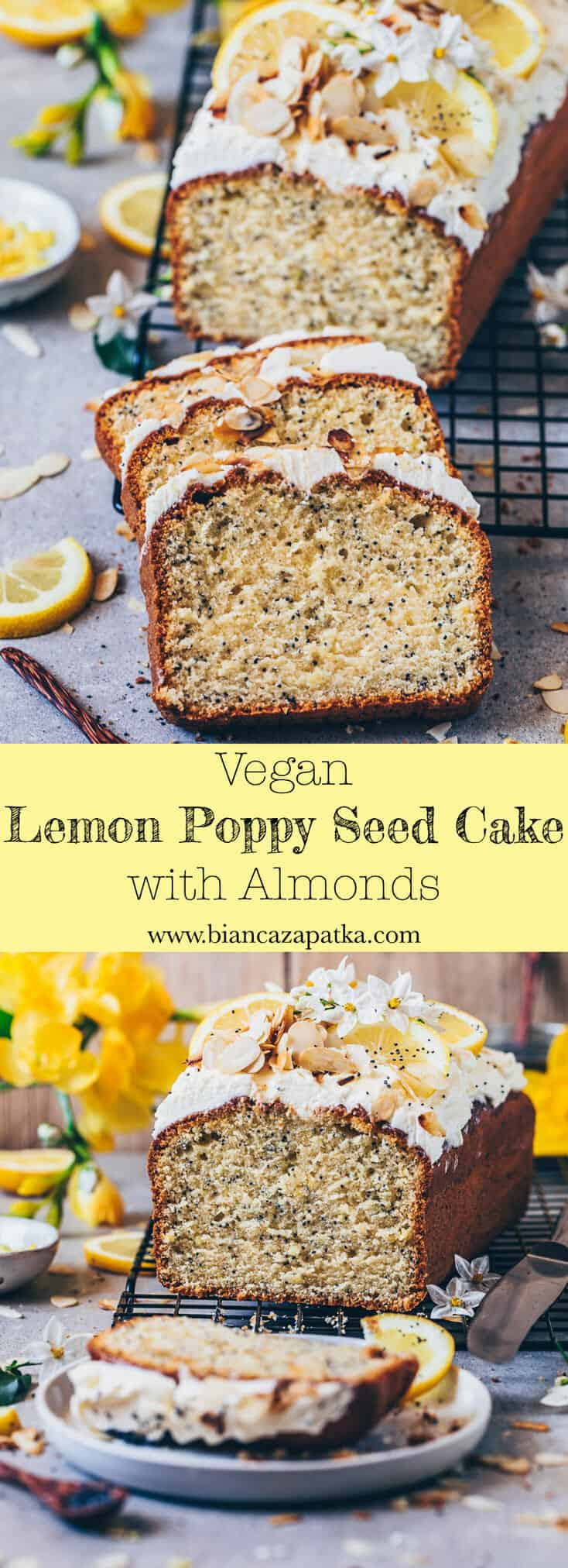 Vegan Lemon Poppy Seed Cake with Cream Cheese Frosting and almonds. It is soft, moist, delicious. Quick and easy recipe, one-bowl, gluten-free.