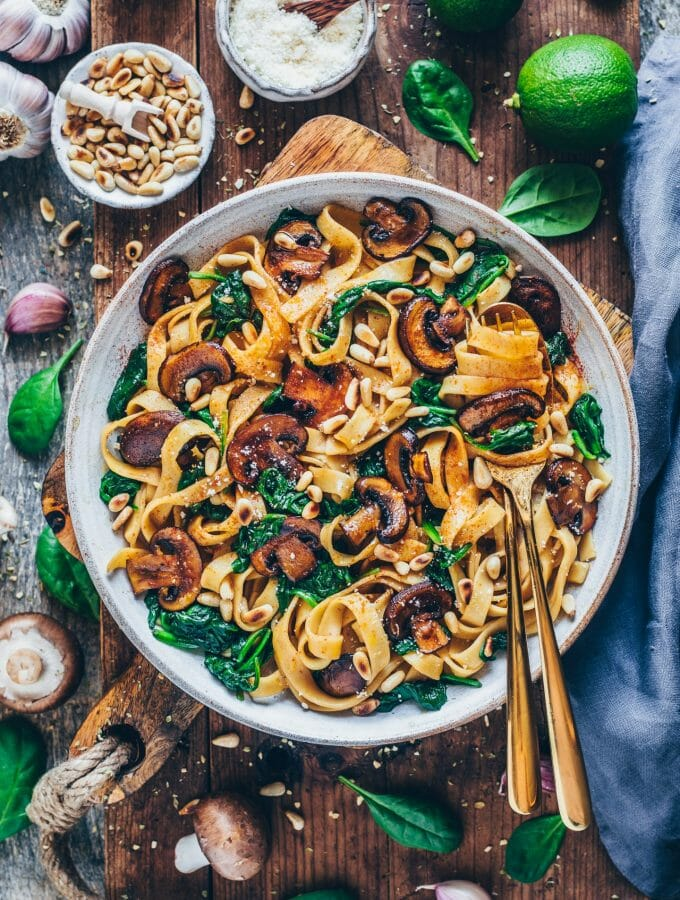 Vegan Mushroom Pasta with Spinach