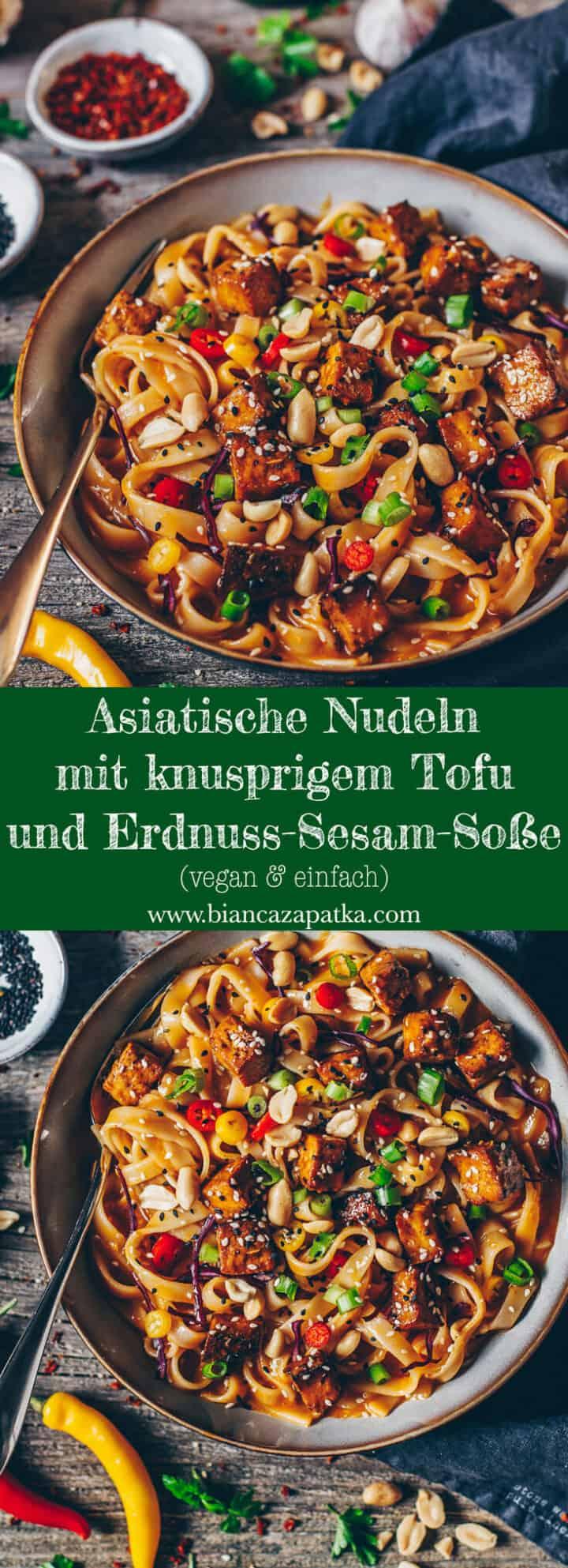 Rezept für asiatische Nudeln mit einer Soße aus Chili, Erdnuss und Sesam - vegan, schnell und einfach zubereitet, lecker, gesund!