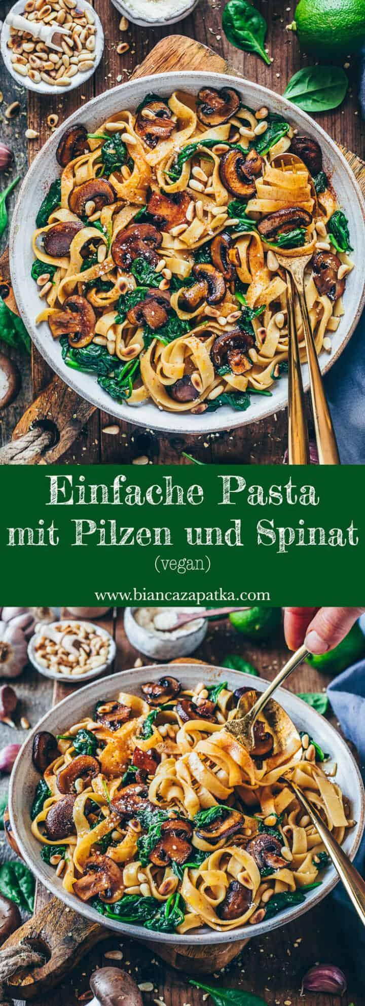 Ein schnelles Rezept für einfache Pilz-Pasta mit Spinat. Dieses Nudelgericht ist vegan, gesund, super lecker und in nur 15 Minuten fertig! Es ist perfekt zum Mittagessen oder Abendessen und kann auch glutenfrei zubereitet werden.