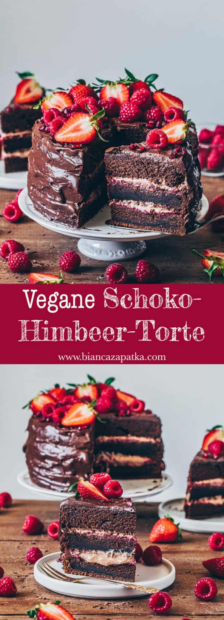Schoko-Himbeer-Torte Rezept. Veganer Schokoladen-Kuchen mit Schoko-Mousse und selbstgemachter Himbeer-Marmelade. Torte schichten Schritt-für-Schritt Anleitung.