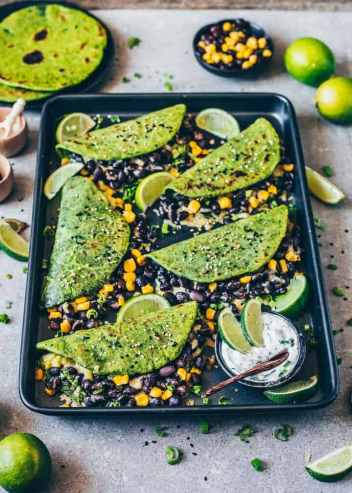 Homemade Spinach Tortillas Recipe. Step-by-step guide, how to make easy Spinach Tortillas for vegan quesadillas, tacos, wraps, burritos. Mexican flatbread. Healthy, delicious, gluten-free.