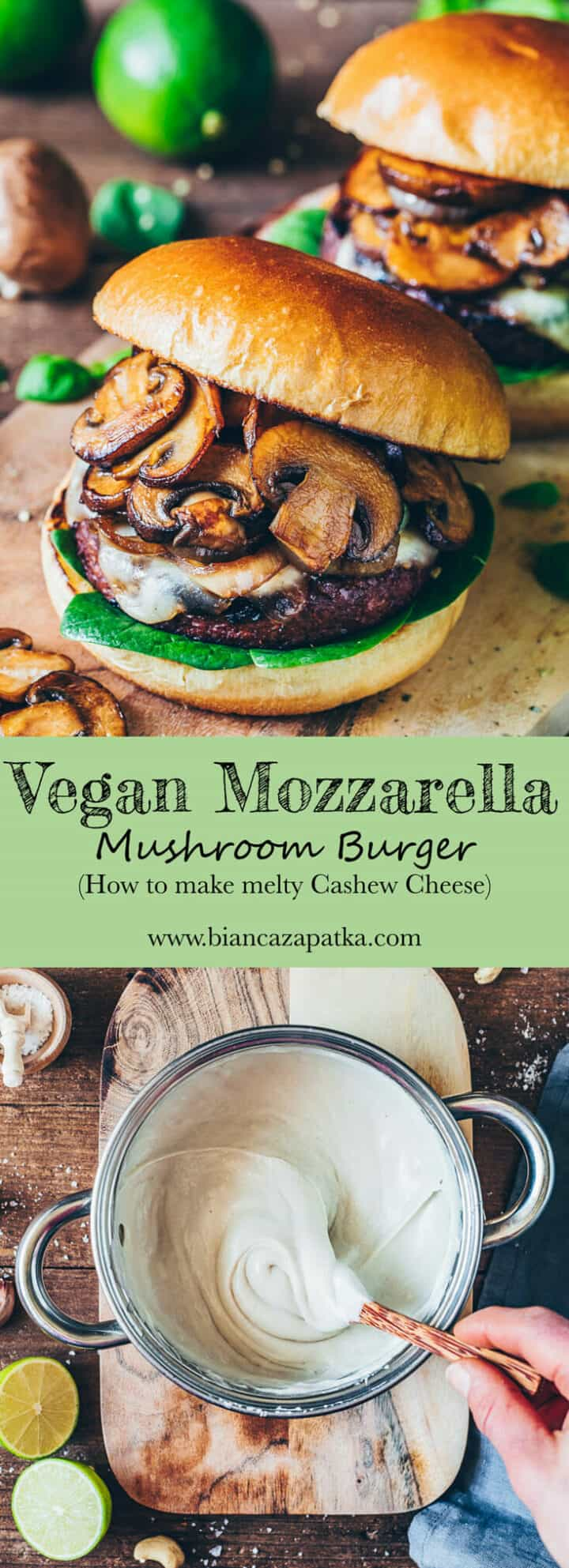Melty Vegan Mozzarella is easy to make, perfect for gratinatingand baking casserole, pizza, sandwiches, mushroom burger. Stretchy cashew mozzarella is dairy-free cheese, gluten-free, plant-based, soy-free.