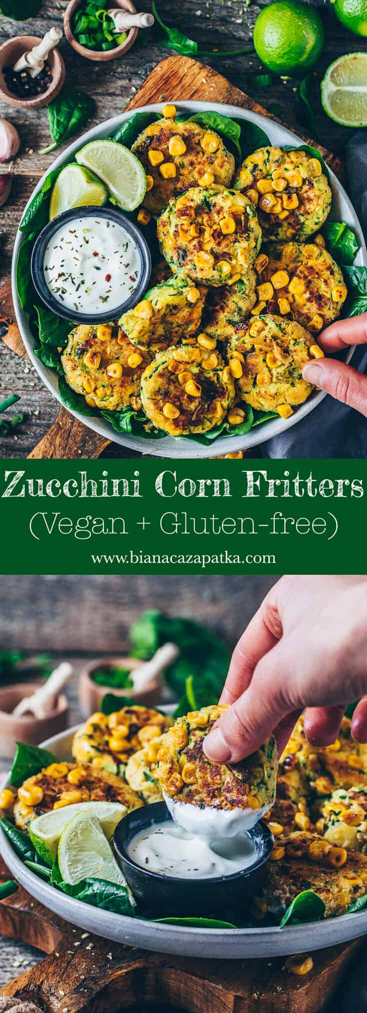 Zucchini Corn Fritters, crispy vegan veggie fritters, healthy, delicious, gluten-free, quick and easy recipe.