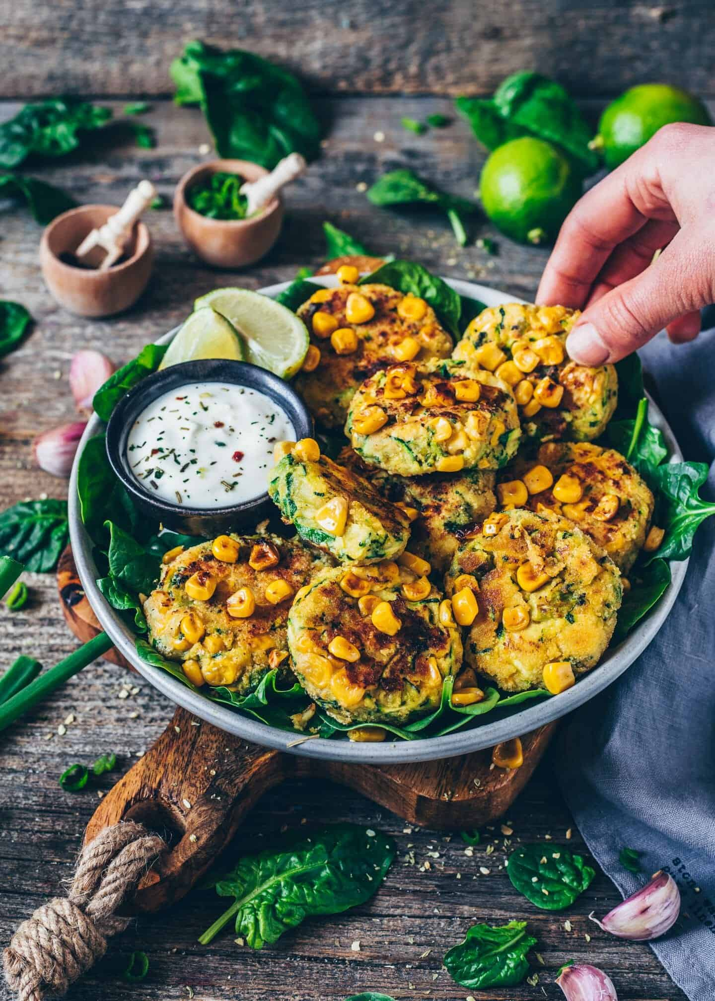 Zucchini Corn Fritters, crispy vegan veggie fritters, healthy, delicious, gluten-free, quick and easy recipe.