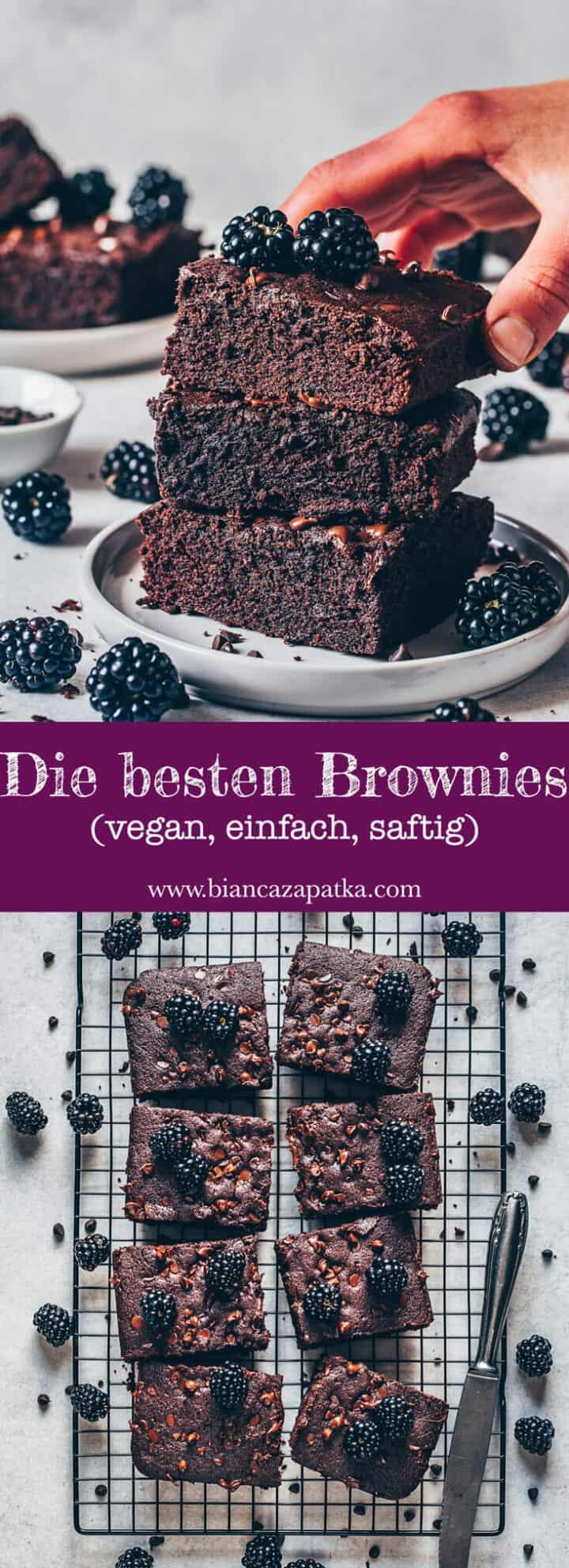 Die besten Brownies. Schokoladen Brownies. Saftig, fudgy, schokoladig, schnell und einfach zubereitet. Das beste vegane Brownies Rezept.