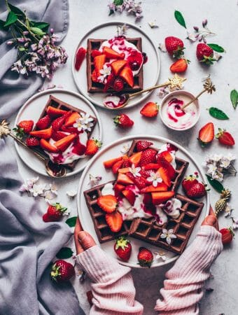 chocolate waffles with strawberry cream