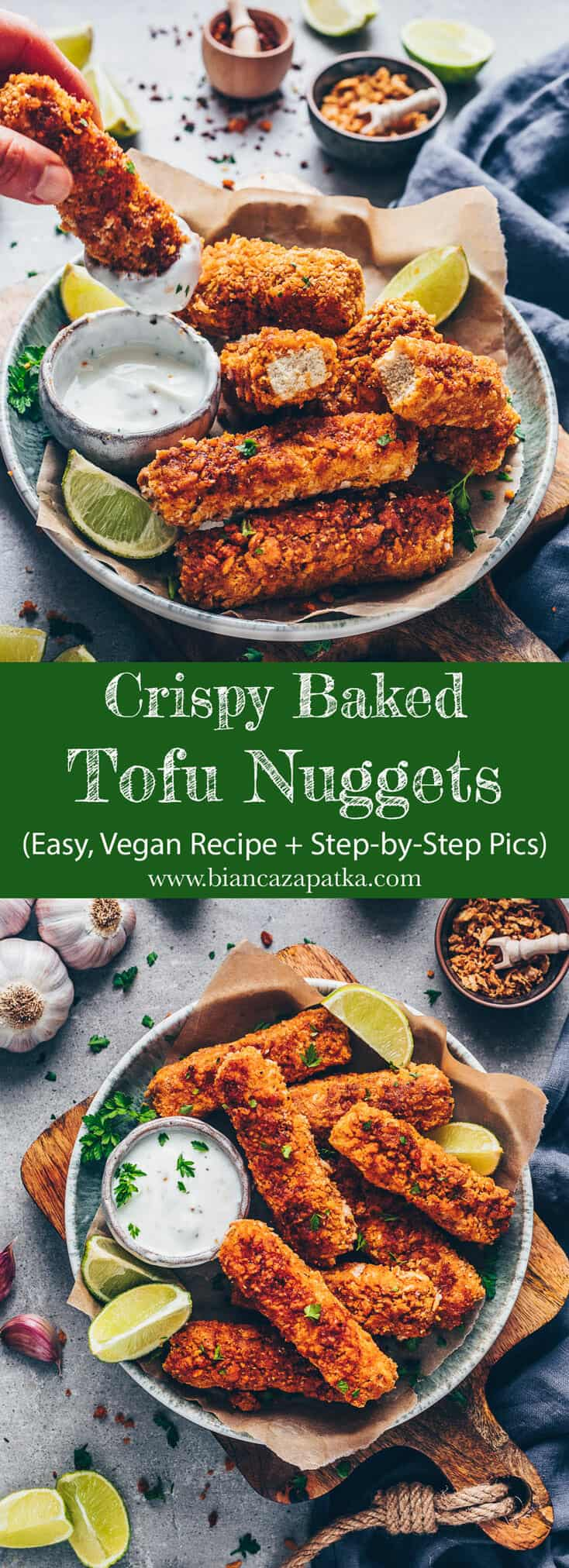 Crispy Baked Tofu Nuggets. Meatless chicken fingers and buffalo barbecue sauce. Easy vegan chicken nuggets recipe.