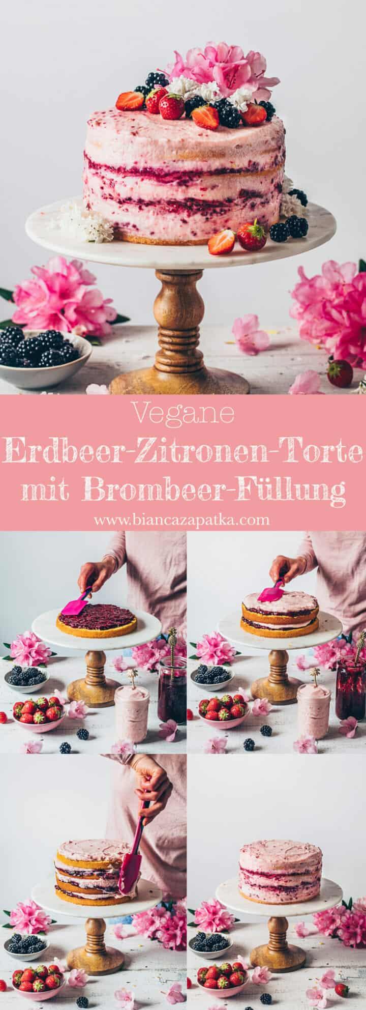 Erdbeer-Zitronen-Torte. Veganer Zitronenkuchen mit selbstgemachter Brombeer-Marmelade und Erdbeer-Creme Frosting.
