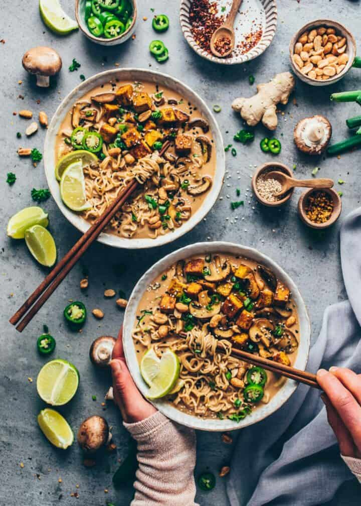 Quick and easy Vegan Thai Peanut Ramen Noodle Soup. Creamy peanut coconut curry with mushrooms and crispy tofu. Healthy, spicy, delicious Japanese noodle soup.