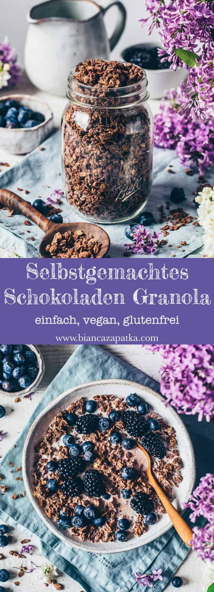 Schokoladen Granola Rezept. Schoko-Granola selbstgemacht. Einfach, schnelles Frühstück, knuspriges Topping. Schoko-Müsli. Vegan, glutenfrei, milchfrei, lecker.