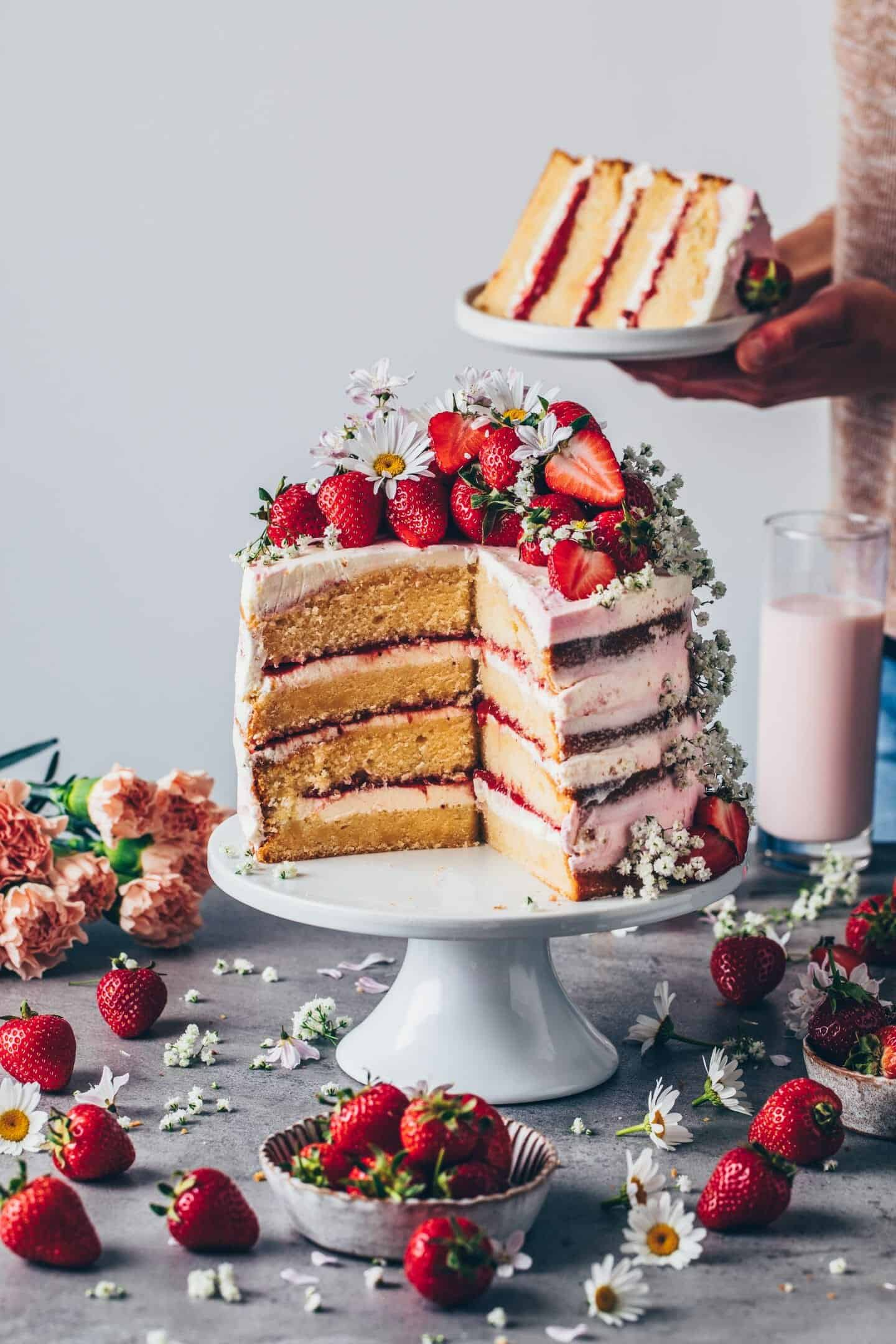 Strawberry Cream Naked Cake. Strawberry Cake. Vanilla cake layers with fresh strawberry filling. Homemade Strawberry jam. Dessert for summer. Step-by-step instructions how to make a layer cake.