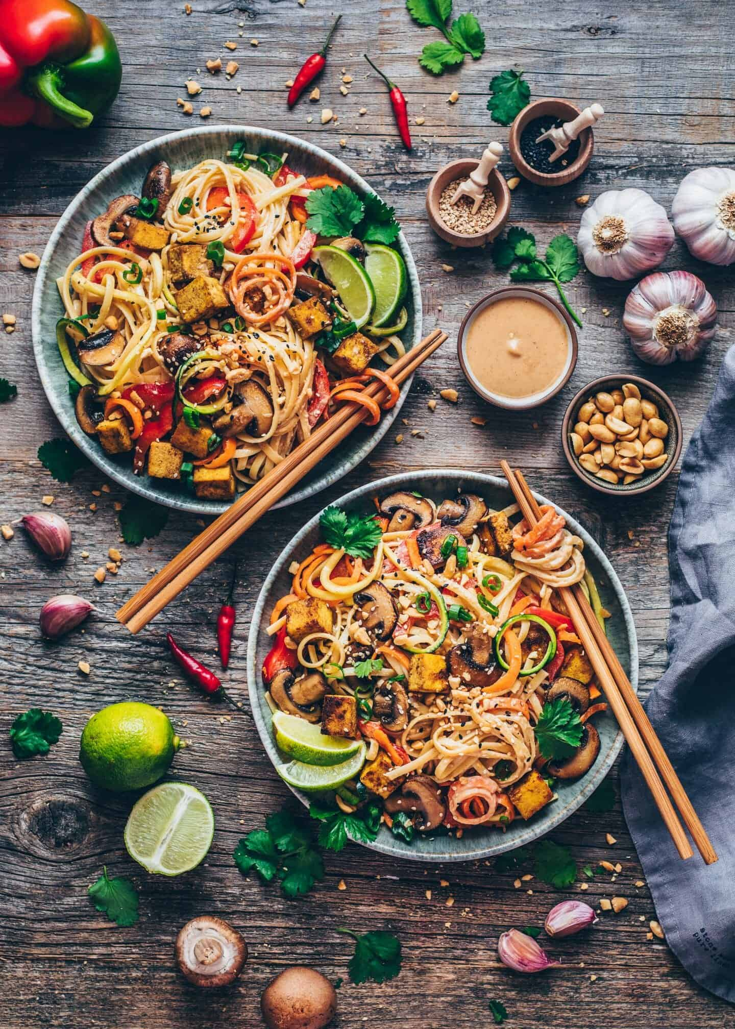 Pad Thai with crispy tofu, vegetable noodles, creamy peanut sauce. Quick and easy Recipe, healthy, delicious, gluten-free. Carrot noodles, Zucchini Noodles, mushrooms.