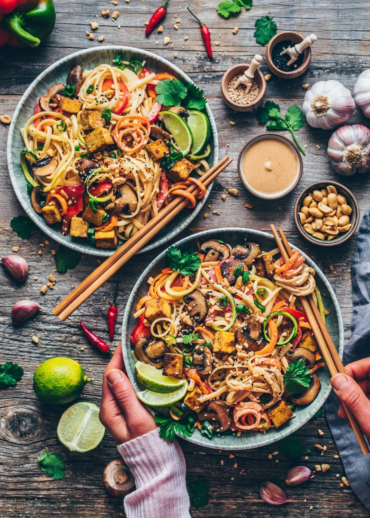 Vegan Pad Thai with crispy tofu, vegetable noodles, creamy peanut sauce. Quick and easy Recipe, healthy, delicious, gluten-free. Carrot noodles, Zucchini Noodles, mushrooms. Asia food, Chinese.