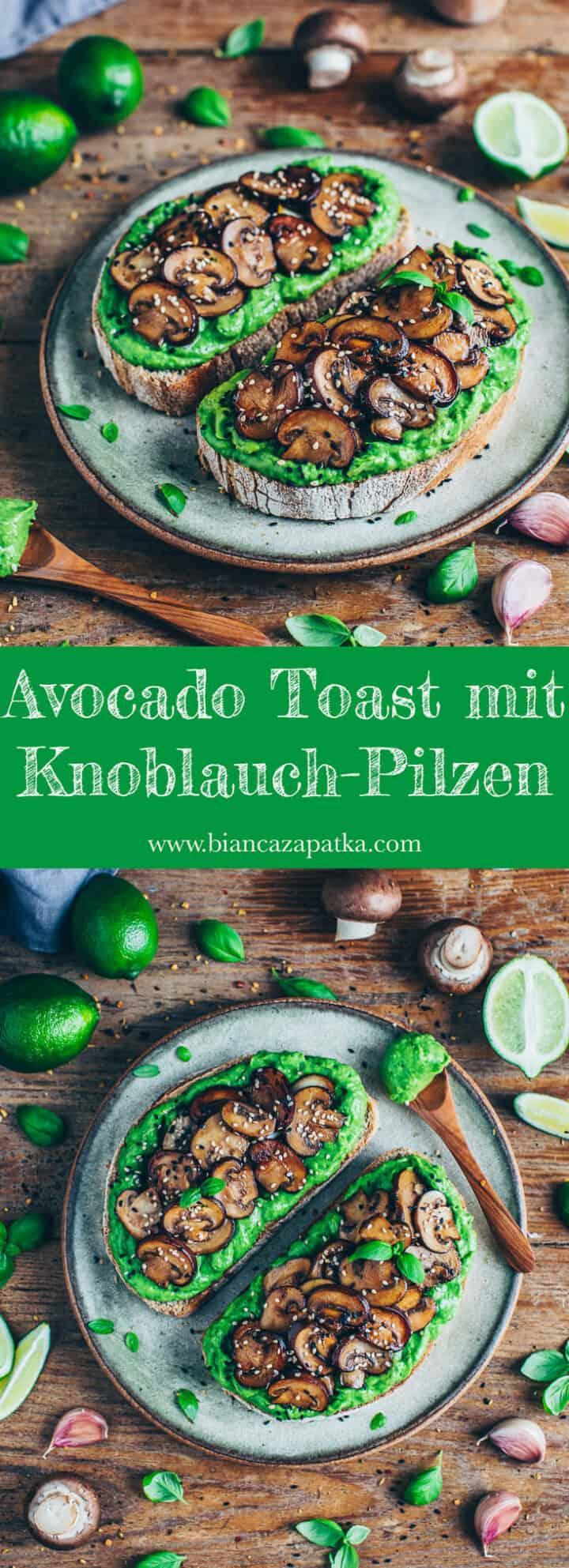 Avocado Toast mit Knoblauch-Pilzen