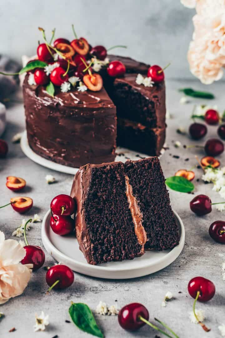 Best Vegan Chocolate Cake Recipe made with simple ingredients in one bowl. It's delicious, rich with chocolate flavor, and can be made gluten-free.