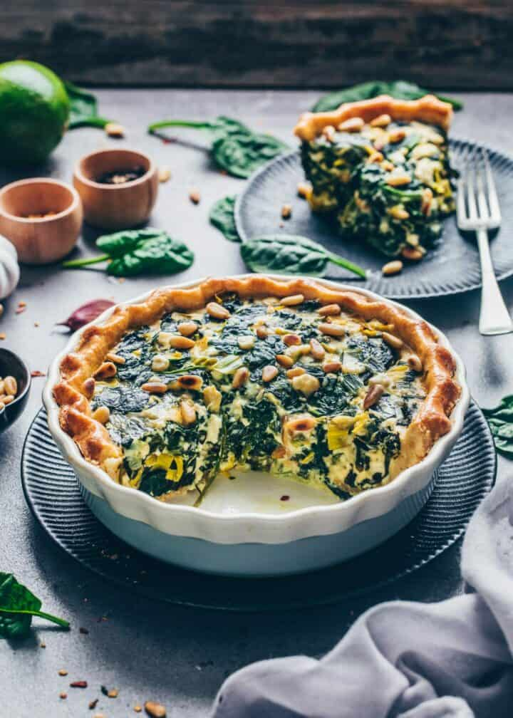 Vegan Quiche Recipe. Creamy, cheesy, delicious. Homemade pie crust. Quick and easy to make. Easy spinach quiche. Savory breakfast, brunch, lunch, dinner.