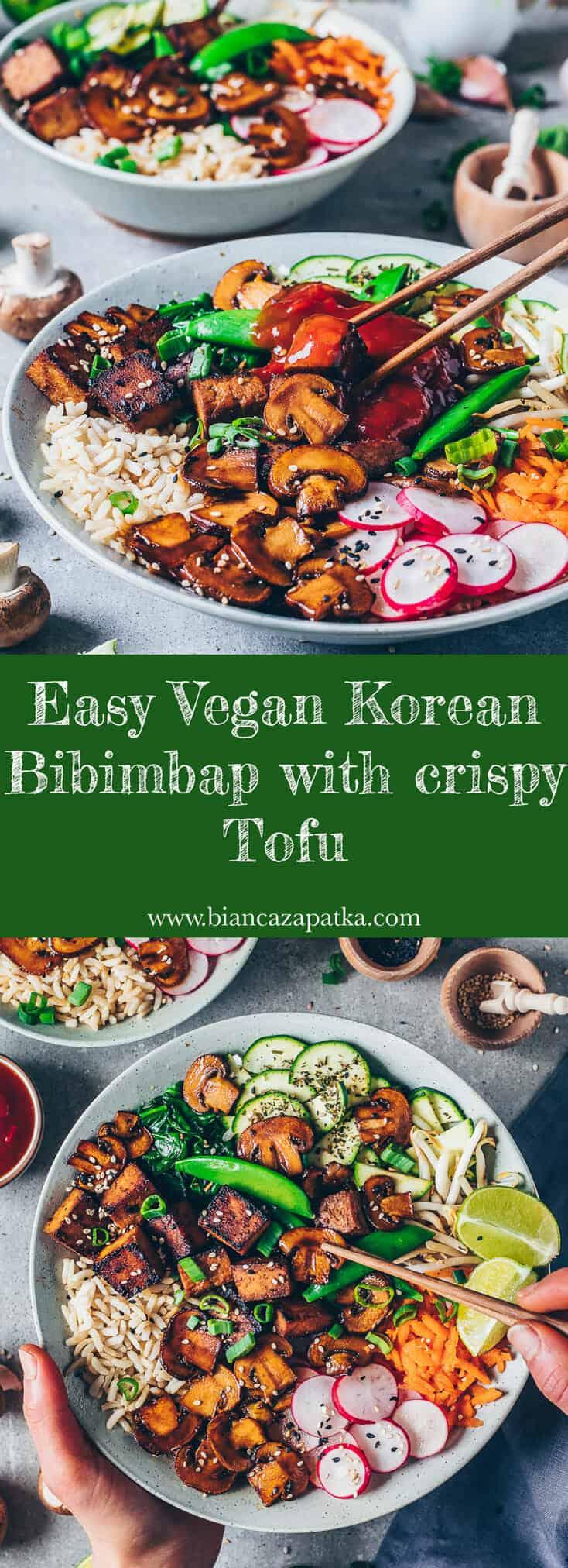 Vegan Bibimbap recipe. Korean mixed rice dish with vegetables and crispy tofu. Easy to make, healthy, delicious. Asian food.