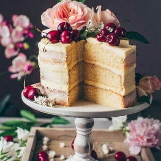Vegan Vanilla Cake recipe. Soft and moist vanilla layer cake with vegan buttercream frosting. Easy Naked Cake.