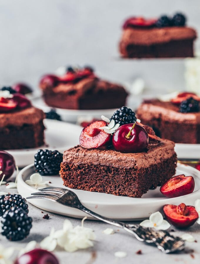 Chocolate cake. Moist, rich, delicious with chocolate frosting. Vegan sheet cake.